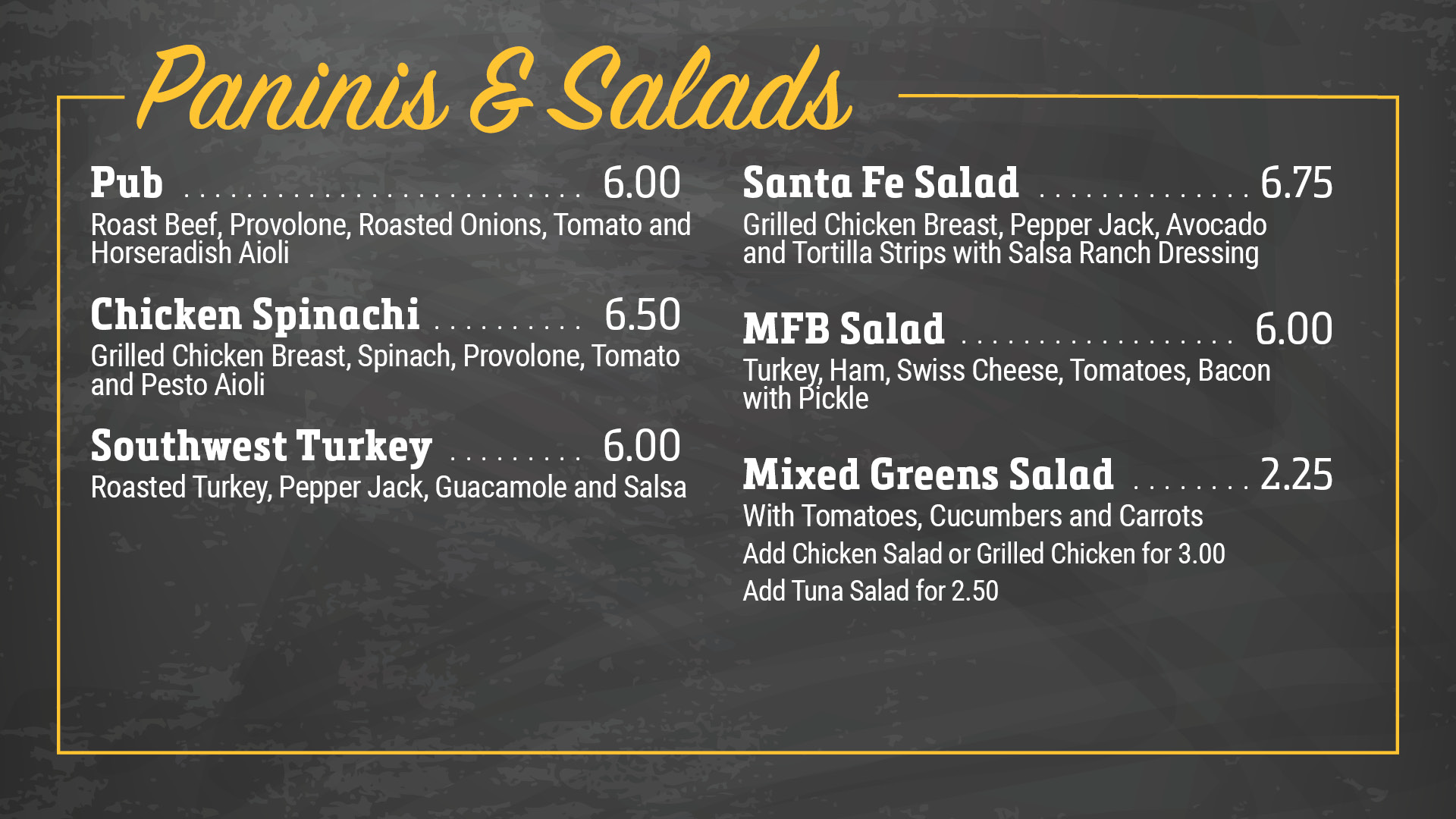 Paninis & Salads Menu