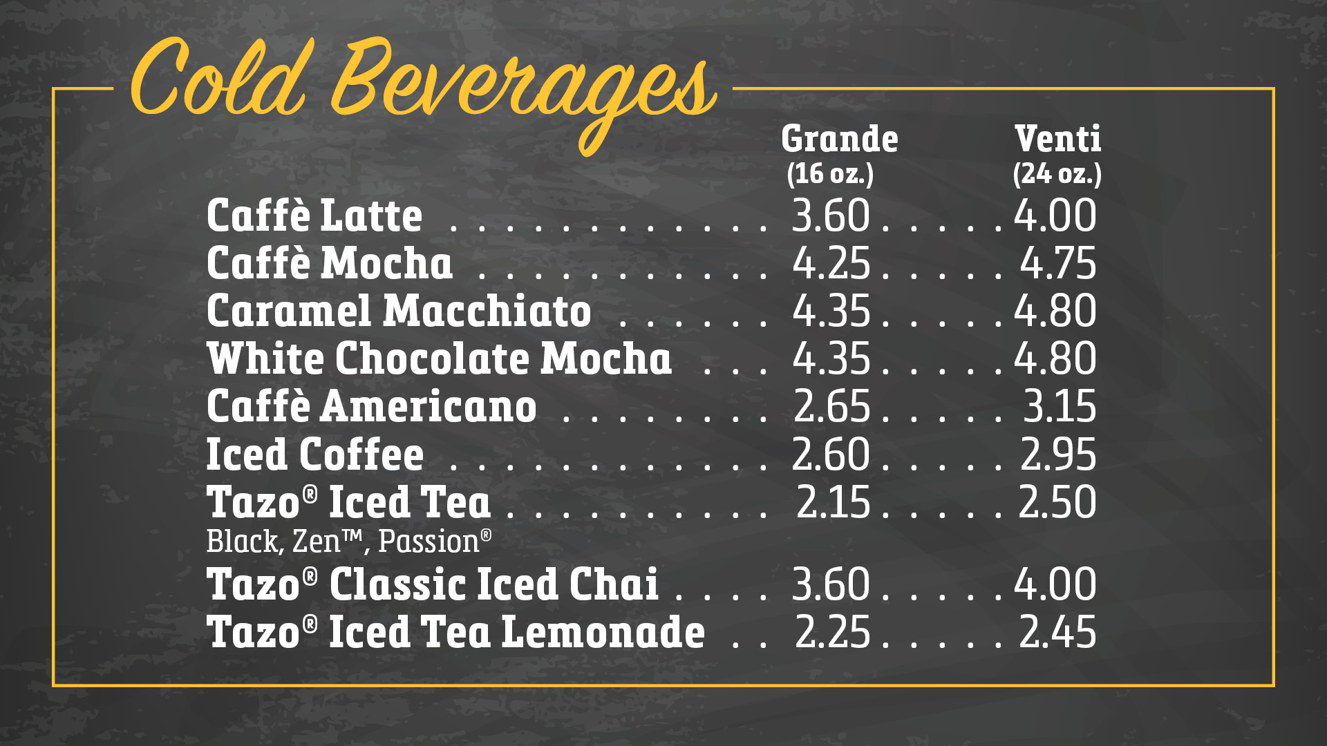 Cold Beverages Menu