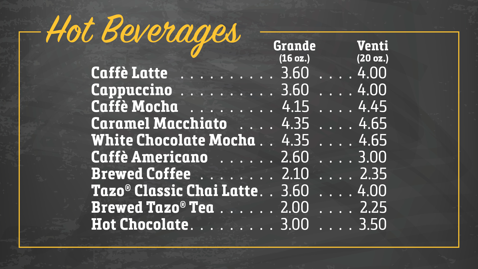 Hot Beverages menu