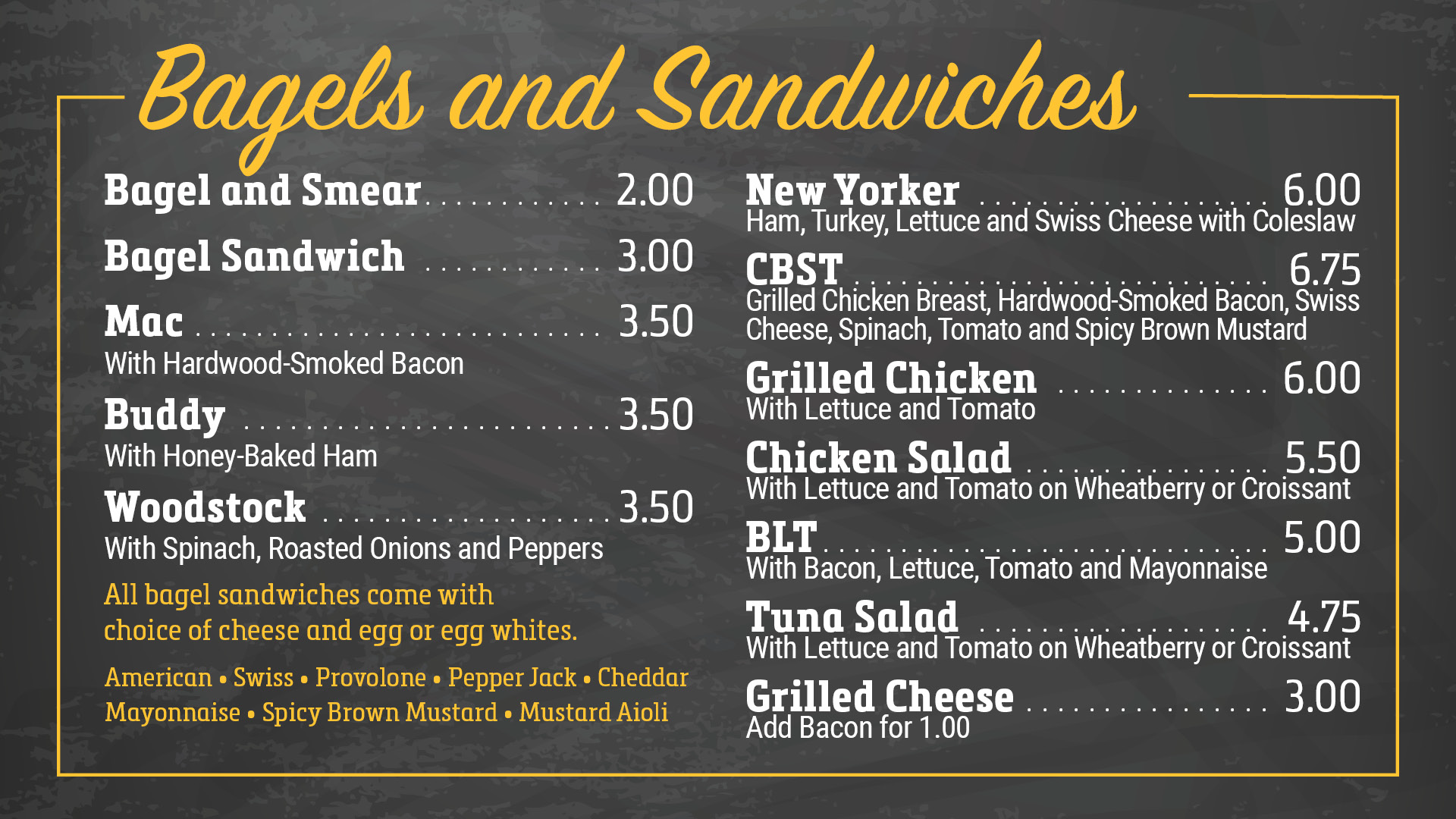 Bagels & Sandwiches Menu