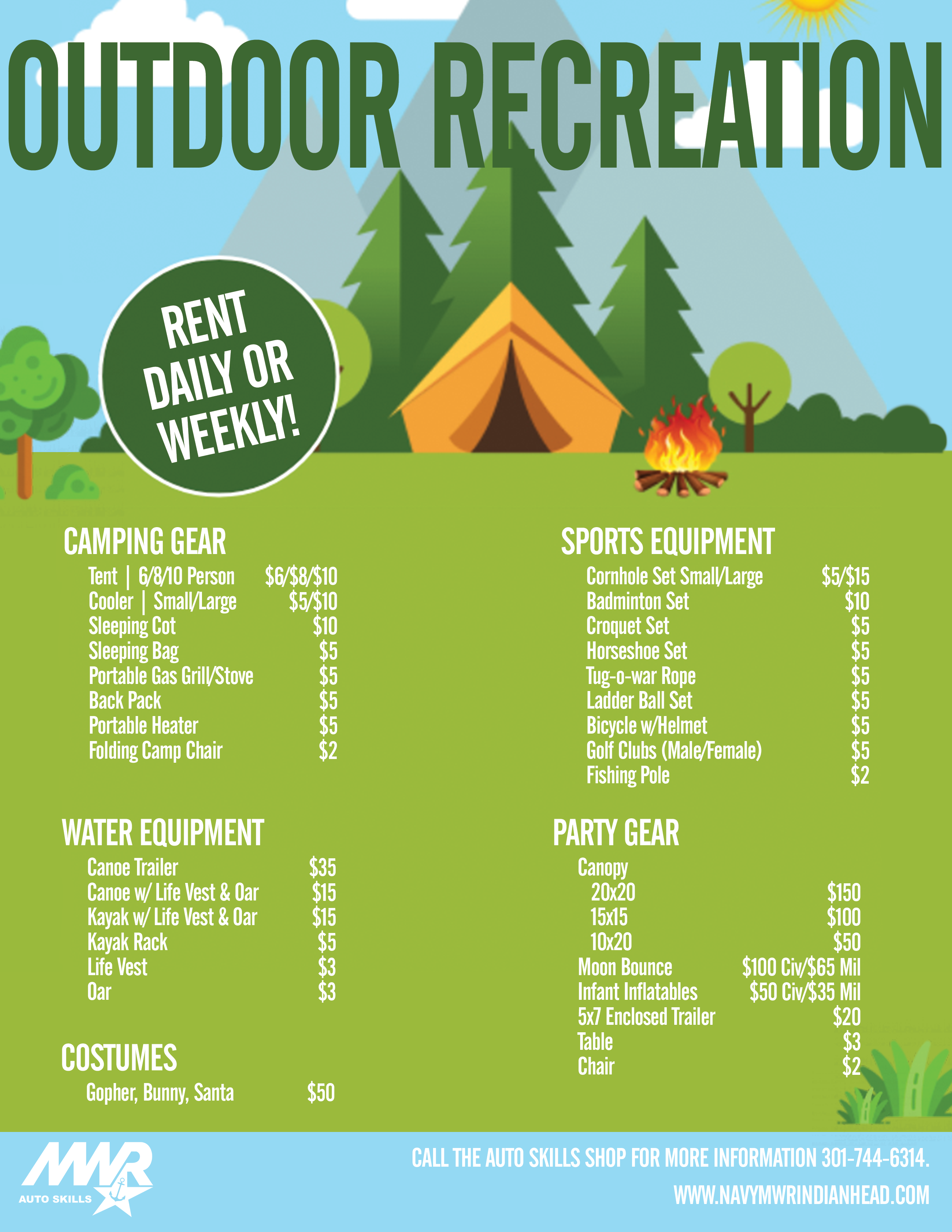 Outdoor Recreation price list